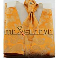 Wholesale orange ascot tie resale online - classical orange set vest ascot tie cufflinks handkerchief