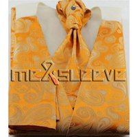 ingrosso legame ascot arancione-set classico arancione per spedizione gratuita (gilet + cravatta ascot + gemelli + fazzoletto)