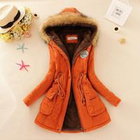 ingrosso cappuccio per donna-Cappotto caldo invernale Donna Parka lungo Moda Cappotto in pelliccia sintetica Cappotto da donna Giacca imbottita in cotone casual Colori mutil