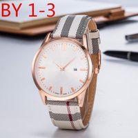en iyi tasarlanmış saatler toptan satış-Şövalye Tasarım Moda İNGILTERE Marka Erkek Kadın Lüks İzle Kuvars Hareketi kafes çizgili Deri Kayış En Iyi Hediye Çift Sevgilisi Izle