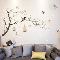 tamanho do papel de parede venda por atacado-187 * 128 cm tamanho grande árvore adesivos de parede pássaros flor home decor papéis de parede para sala de estar quarto diy quartos de vinil decoração