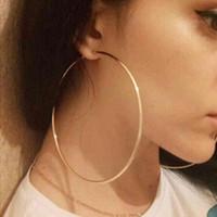 Wholesale celebrity brand jewelry resale online - 100mm Trendy Large Hoop Earrings Big Smooth Circle Earrings Basketball Brincos Celebrity Brand Loop for Women Jewelry