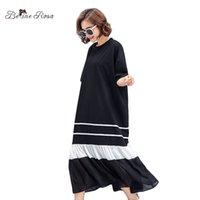drape tarzı elbiseler toptan satış-BelineRosa 2018 Rahat Siyah Elbiseler Kadın Yaz Tarzı Kısa Kollu Draped Ruffled Hem Moda Tasarımcısı Elbise TYW00777