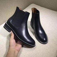 ingrosso scarpe in pelle suola-Scarpe Donna Casual Catena pelle dentizione Outsole di gomma stivaletti neri Designer Scarpe di lusso