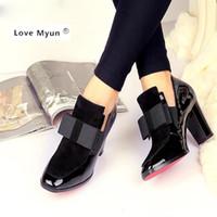 neue fersensohlen großhandel-Neue 100% Rote Sohle High Heels Pumps Karree Echtes Leder Schuhe Frauen Damen Schwarz Sexy Chaussure Femme 1760 # 9015