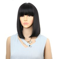 Wholesale cosplay hairstyles for women for sale - Group buy Straight Black Synthetic Wigs With Bangs For Women Medium Length Hair Bob Wig Heat Resistant bobo Hairstyle Cosplay wigs