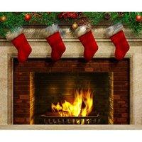 botas de vinilo al por mayor-7x5FT Merry Christmas Red Boots Ladrillos Chimenea Custom Photo Studio Telón de fondo Fondo Vinilo 220cm x 150cm