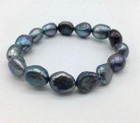 ingrosso perle d'acqua dolce nere barocco-Nero braccialetto di perle d'acqua dolce naturale, barocca forma naturale perla, la scelta della signora Charm