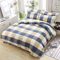 Wholesale plaid full bedding sets for sale - Group buy 2019 Hot Sale Home Textile Neighbors Student Striped Plaid Pattern Bedding Set Bedding Quilt Bed Sheets Linen Pillow Case