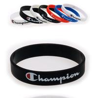 печатные резиновые браслеты оптовых-Champions Wristband Силиконовый Спортивный Браслет Мужчины Женщины Резиновый Браслет Письмо Печатных Любителей Подарок Мальчики Баскетбол Браслет B5703