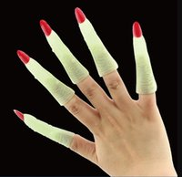 Wholesale party props makeup resale online - 2019 Newest Halloween Makeup Party Prom Zombie Witch Nails Set Fake Finger Nail Cover Witch Props Glow in The Dark Luminous Nails