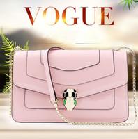 python çanta toptan satış-2019 yeni kadın omuz çantası python kafa çantası deri küçük kare çanta düz renk deri zincir çanta