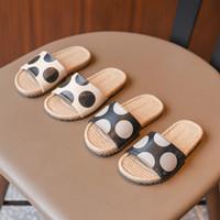 Wholesale indoor slippers for kids resale online - Black dots Slippers for Boy Girl Shoes Summer Toddler Kids Indoor Baby Slippers Pu Cartoon Kids N357