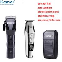 máquinas de corte de cabelo de barbeiro venda por atacado-100-240 v Kemei Profissional Clipper Elétrica Sem Fio de Cabeça de Óleo Aparador de Barba Barbeador Máquina de Corte De Cabelo Barbeiro MowerMX190821