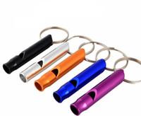 ferramenta chaveiro de emergência venda por atacado-Chaveiro De Sobrevivência de Emergência de alumínio Chaveiro Para Camping Caminhadas Esporte Ao Ar Livre Ferramentas Multifunctiona; Apito de treinamento