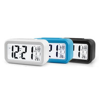 ingrosso sveglia della batteria-Sensore batteria Orologio da tavolo Orologio digitale Sveglia Orologio da studente Ampio display LCD Snooze Temperature Kids Clock Light