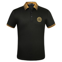 coleiras de grife venda por atacado-Masculinas 2020 New Moda Verão Turn-Down Collar Plain algodão bordado de manga curta T-shirt Designer lapela Polo T Shirt Male