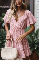 Wholesale womens casual dresses for sale - New Arrival Women Printed Short Dresses Casual Fashion Womens V neck Skirts Tops Womens Summer Holiday Beach Dresses