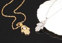 peru de jóias venda por atacado-CH-351 clássico prata Fátima Colar Mão Pingentes CZ Zircon palma Gargantilha Colar Turquia jóias para as mulheres