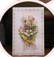 Wholesale dried flower cards for sale - Group buy dried flower Paper Greeting Card DIY Dried Flower Handmade Invitation Card Wish for Teachers
