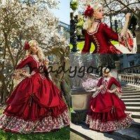 ingrosso vestito da mascherare vittoriano-Abito da principessa medievale fantasia quinceanera Abito da ballo vittoriano in maschera di Halloween Abito da ballo Queen Puffy Red Sweet 16 Dress