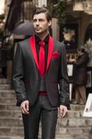 Wholesale charcoal grey men suit resale online - Charcoal Grey Men Wedding Tuxedos Red Shawl Lapel Bridegroom Groomsmen Piece Suit Men Business Party Prom Blazer Jacket Pants Tie Vest