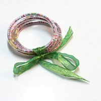 Wholesale serenity jewelry resale online - Coloured beads Layer ALL WEATHER Glitter Jelly Bangles Bracelets Glitter Bangle for Women SERENITY PRAYER Jewelry Green color