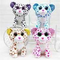 ty große augen katze großhandel-20 CM Ty Beanie Boos Große Augen Plüschtier Puppe 4 Modelle Flecken Katze TY Baby Für Kinder Brithday Geschenke