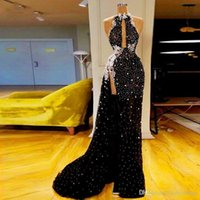 Wholesale sexy prom line dress thigh split for sale - Group buy 2020 New Black with White Sequins High Thigh Split Evening Dresses Sexy Keyhole Neck Long Pagenat Celebrity Gowns Prom Dress Wear