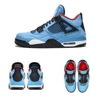 en iyi iv toptan satış-En iyi Otantik Travis 2018Scott Hava x 4 Houston NewOilers 4 S Kaktüs Jack IV Mavi Süet Erkekler Basketbol Ayakkabı Sınırlı Sneakers