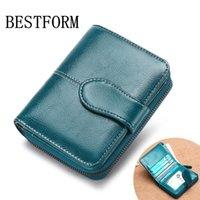 carteiras coreanas bonitos venda por atacado-100% carteira de couro Carteira das senhoras coin purse curto versão coreana do couro bonito multi-função de duas vezes fem
