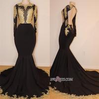 Wholesale maternity evening dresses online - Gorgeous Long Sleeve Black Prom Dresses Lace Appliques Long Evening Gowns Backless Jewel Neck robe de mariée