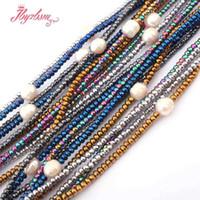 ovaler hämatitstein großhandel-2x4 Rondelle (kein magnetischer) Hematite 9-10mm ovale Perlen-Natursteinperlen für Stammes- Art- und Weiseschmuck-Halskette Freies Verschiffen