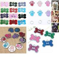 ingrosso tag di animali dell'osso-Dog Tag Per Bone Glitter Footprint 7 Stili Inciso Gatto Cucciolo Pet ID Per La Moda Nome Collare Tag Ciondolo Pet Accessori HH9-2178