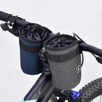 fahrradtaschehalter großhandel-Fahrradlenker Wasserflaschentasche Fahrrad Frontrohr Cup Holder 300D Polyester Stofftasche mit 3 magischen Aufklebern für Outdoor Cycling