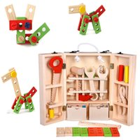 Wholesale children construction toys resale online - Boys Wooden Multifunctional Repair Tools Sets Kid Pretend Play Tool Construction Maintenance Tool Kit Child Toy Carpentry Tools