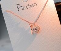 llavero corazón collar al por mayor-Regalo de joyería de cadena de clavícula de cristal de acero inoxidable de plata de oro rosa de lujo de alta calidad para mujer