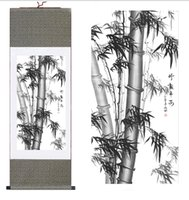ingrosso bamboo tree painting-Bamboo Painting Home Office Decoration Chinese Scroll Pittura Alberi di pino, bambù e prugna gialla