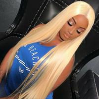 senhora indiana cabelo comprido venda por atacado-613 Loira Longa Frente / Full Lace Wigs Indiano Virgem Do Cabelo Humano Perucas de Cabelo Liso Brasileira 130 150 180% de Densidade