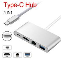 Wholesale rj45 usb female adapter resale online - 4 in USB C USB Hub Adapter Type C to HDMI K Gigabit Ethernet RJ45 USB Multilport Digital Video Converter
