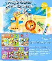 child educational books toptan satış-8 Türleri Sihirli Su Çizim Kitap Yazma Doodle Kitap Boyama Kurulu Çocuk Boyama Mat Çocuklar için Erken Eğitici Oyuncak