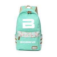 ingrosso borse di kpop-kpop group BIGBANG Canvas Zaino Kawaii Borsa da viaggio Campus di alta qualità Elegante estate kpop New Fashion Flower Zaini