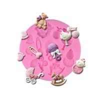 baby-dusche cookies großhandel-Qualitäts neuer Geburtstag Baby-Spielzeug 3D-Silikon Formen Küche Bakeware Fondant Schokolade Plätzchen-Formen Baby-Dusche Kuchen, die Werkzeuge