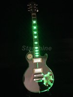 ingrosso chitarra elettrica oro verde-Starshine LED Light Chitarra elettrica DK-DLP4 Crystal Guitar Green LED Grover Tuner Gold Hardware