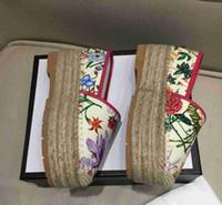 sapatos têxteis venda por atacado-Luxuy New Womens impressão têxtil Cunhas PLATAFORMA calcanhares Casual Shoes Sexy Fisherman Flor senhoras 35-41