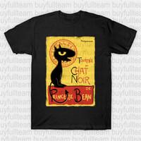 parlaklık moda tişört toptan satış-Tournée-de-Luci-Tişört Karikatür, soğukluk, Le Chat Noir, Parodi, Televizyon Günlük Moda Yuvarlak Yaka Erkek Siyah Kısa Kollu Baskılı T Sh Tops