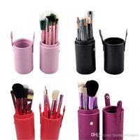 Wholesale eyeliner makeup brushes resale online - 12 set Professional Makeup Brush Tools Set Leather Barrel Bag Cosmetic Powder Eye Shadow Brow Eyeliner Make Up Brushes Kit aa490