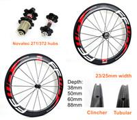 700C carbon rim 38 50 60 88mm depth 25mm width road carbon wheels clincher Tubular carbon wheelset with novatec 271 372 hubs