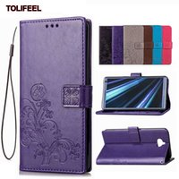 Wholesale magnetic sony xperia online – custom For Sony Xperia XZ1 XZ2 XZ3 XZ4 XA1 XA2 XA3 Ultra Plus Magnetic PU Leather Flip Wallet Cover Embossed Flower Kickstand Case