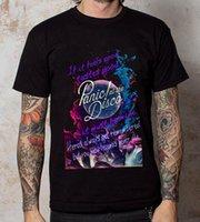 disco t shirts al por mayor-Camiseta de diseño masculino con cuello redondo, Panic Panic! En The Disco Lyric Men Short Tall T Shirt